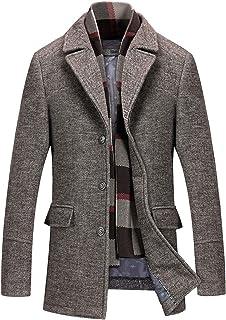 معطف رجالي كلاسيكي متوسط الطول مبطن من الصوف مع وشاح قابل للفصل من CHARTOU