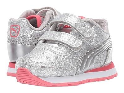Puma Kids Vista Glitz Velcro (Toddler) (PUMA Silver/Calypso Coral/PUMA White) Girls Shoes