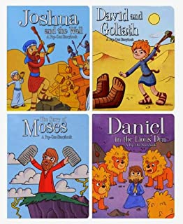 Pop-Out Storybooks (Set of 4 Books): Daniel in The Lion's Den, David and Goliath, Joshua and The Wall, & The Story...