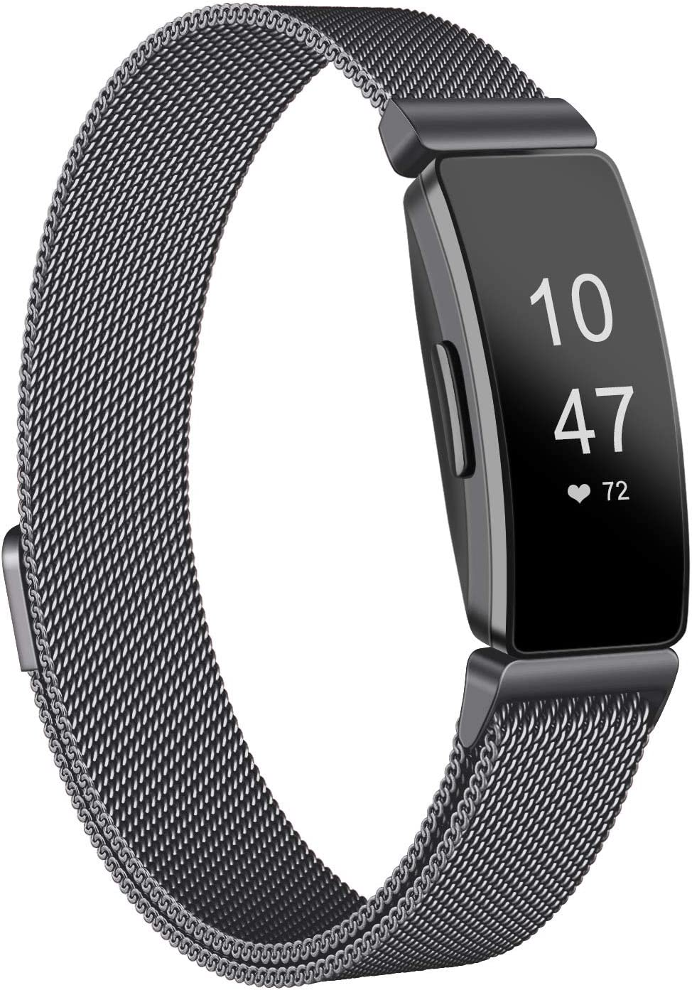 Amzpas Bands Compatible with Fitbit Inspire 2 & Fitbit Inspire HR & Fitbit Inspire & Fitbit Ace 2, Breathable Stainless Steel Loop Mesh Magnetic Adjustable Wristband for Women Men(Small,Dark Gray)
