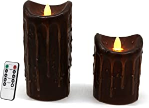 CVHOMEDECO. Real Wax Hand Dipped Battery Operated LED Pillar Candles with Timer and Remote Control, Primitives Rustic Flic...