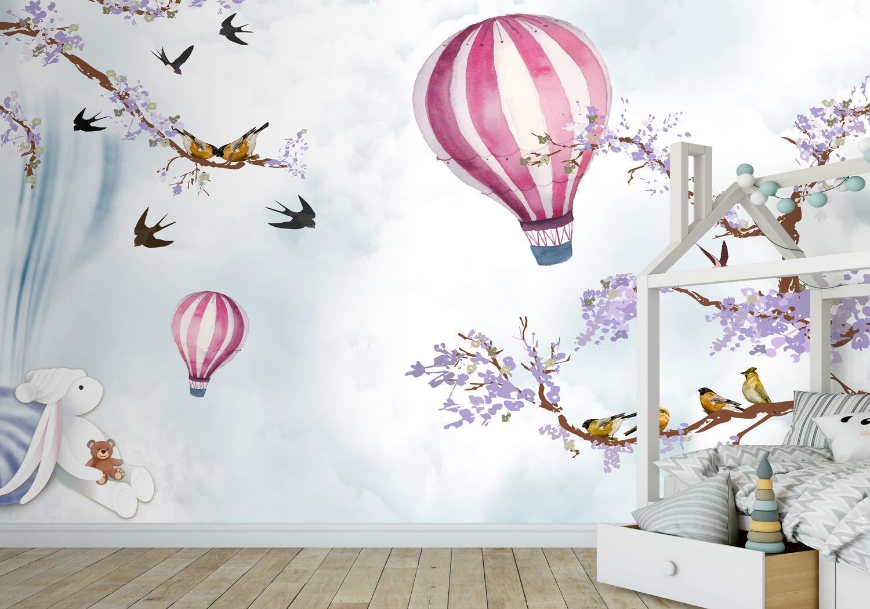 Amazon.com: Murwall Kids Wallpaper Hot Air Balloon Wall Mural Purple  Blossom Wall Print Cartoon Sky Wall Art Nursery Wall Decor Childroom Play  Room : Handmade Products
