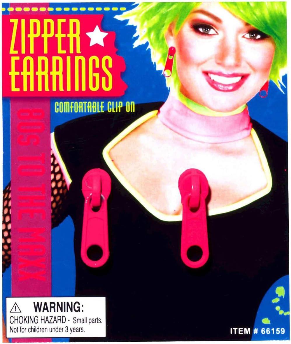Forum Novelties Pink Zipper Earrings Adult (As Shown;One Size)