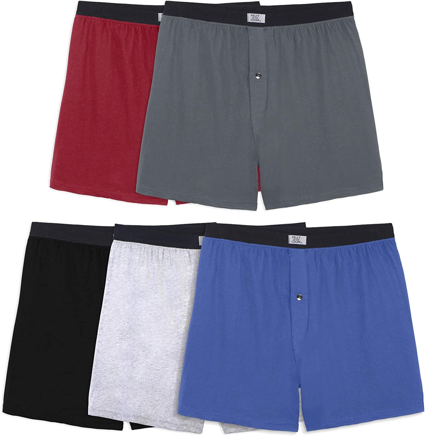 Fruit Of The Loom Mens Knit Boxers 5 Pack