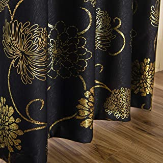 MYRU Black and Gold Blackout Curtains for Bedroom, Luxury Flower Curtains for Living Room (2 x 54 x 84 Inch)