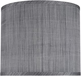 Aspen Creative 31015 Transitional Hardback Drum (Cylinder) Shape Spider Construction Lamp Shade in Grey & Black, 12