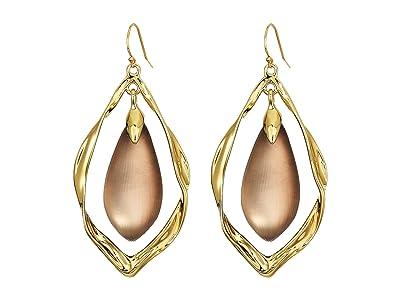 Alexis Bittar Crumpled Metal Framed Wire Earrings (Chocolate) Earring