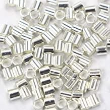 Tacool 100pcs Sterling Silver Crimp Tube Beads Stoppers for Jewelry Making (Silver, 2x2mm)