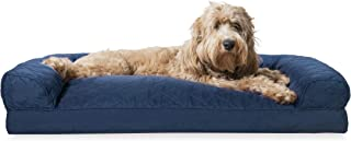 Furhaven Pet Dog Bed | Quilted Pillow Cushion Traditional Sofa-Style Living Room Couch Pet Bed w/ Removable Cover for Dogs & Cats, Navy, Large