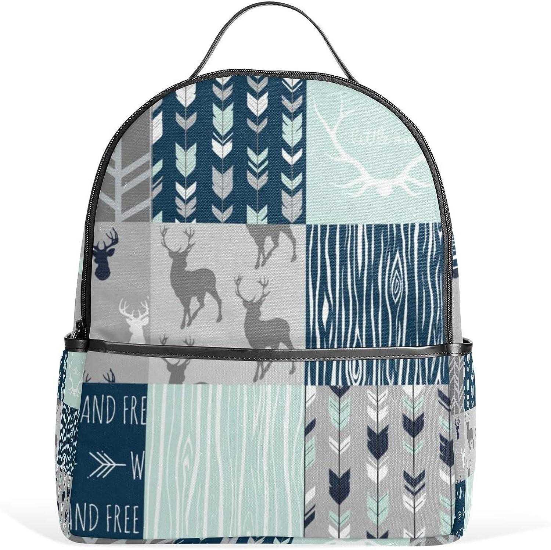 Patchwork Deer Mint Navy Grey Backpack for Men Women Back Pack Bag College Daypacks Teenagers's Travel bagpacks Casual Daypack for Travel