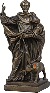 Ebros Religious Catholic Priest Saint Dominic of Osma with Hound Dog Statue Patron of Astronomers Founder of Dominican Order Rosary of Mary Home Decor Inspirational Altar Figurine