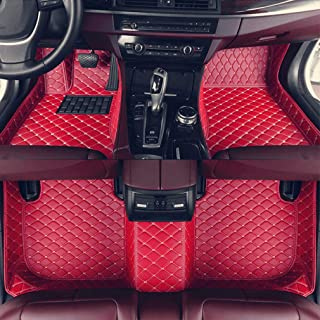 8X-SPEED Custom Car Floor Mats Fit for Audi A6 2007-2018 Avant Full Coverage All Weather Protection Waterproof Non-Slip Leather Liner Set Red