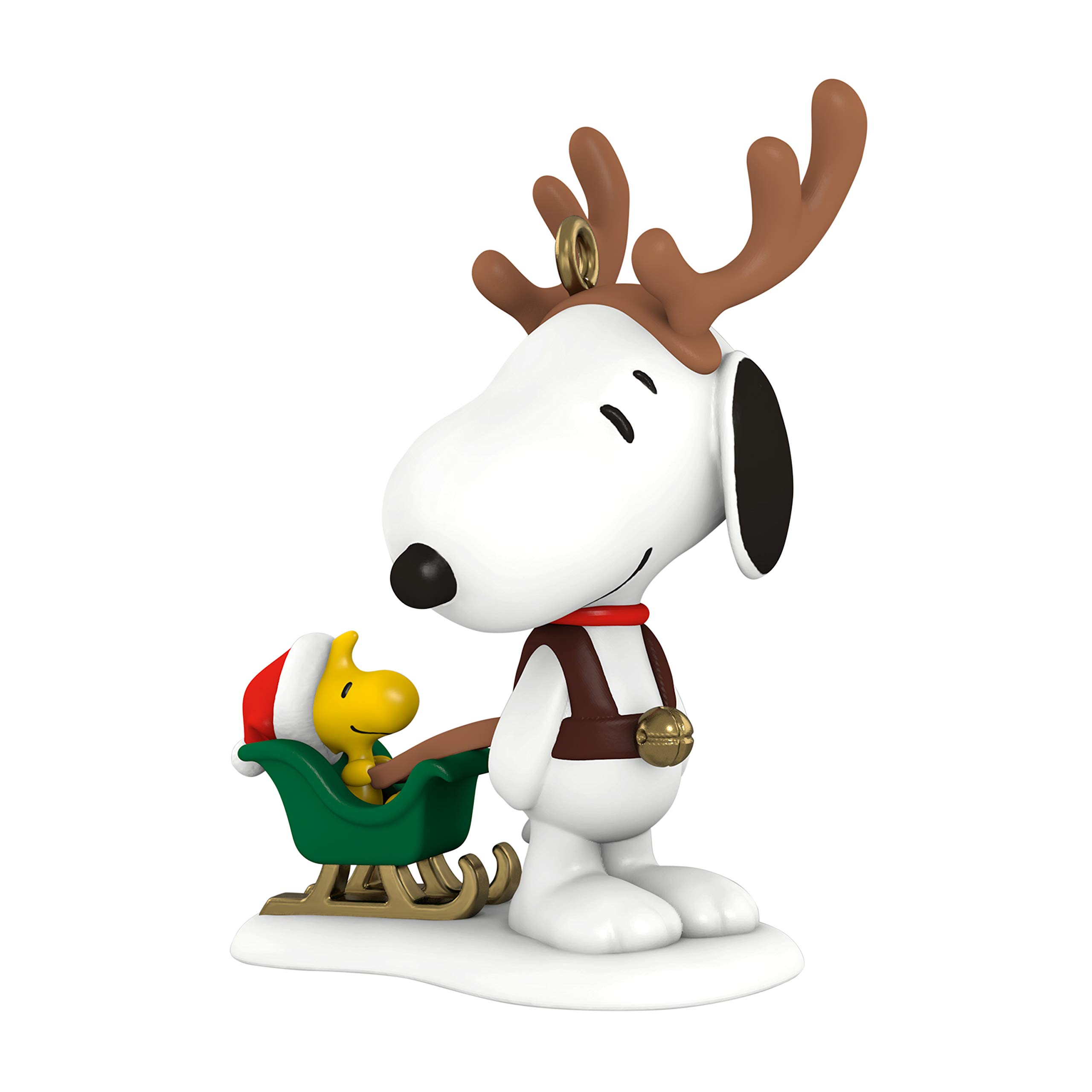 Image of Cute Hallmark Peanuts Reindeer Snoopy Christmas Ornament - See More Snoopy Ornaments