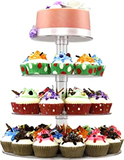 DYCacrlic Acrylic 4-Tier Round Cupcake Stand Display, Dessert Holders Cupcake Tree,Clear Tiered Cake Stand Wedding Cupcake Tower (4 Tier Round Tube)