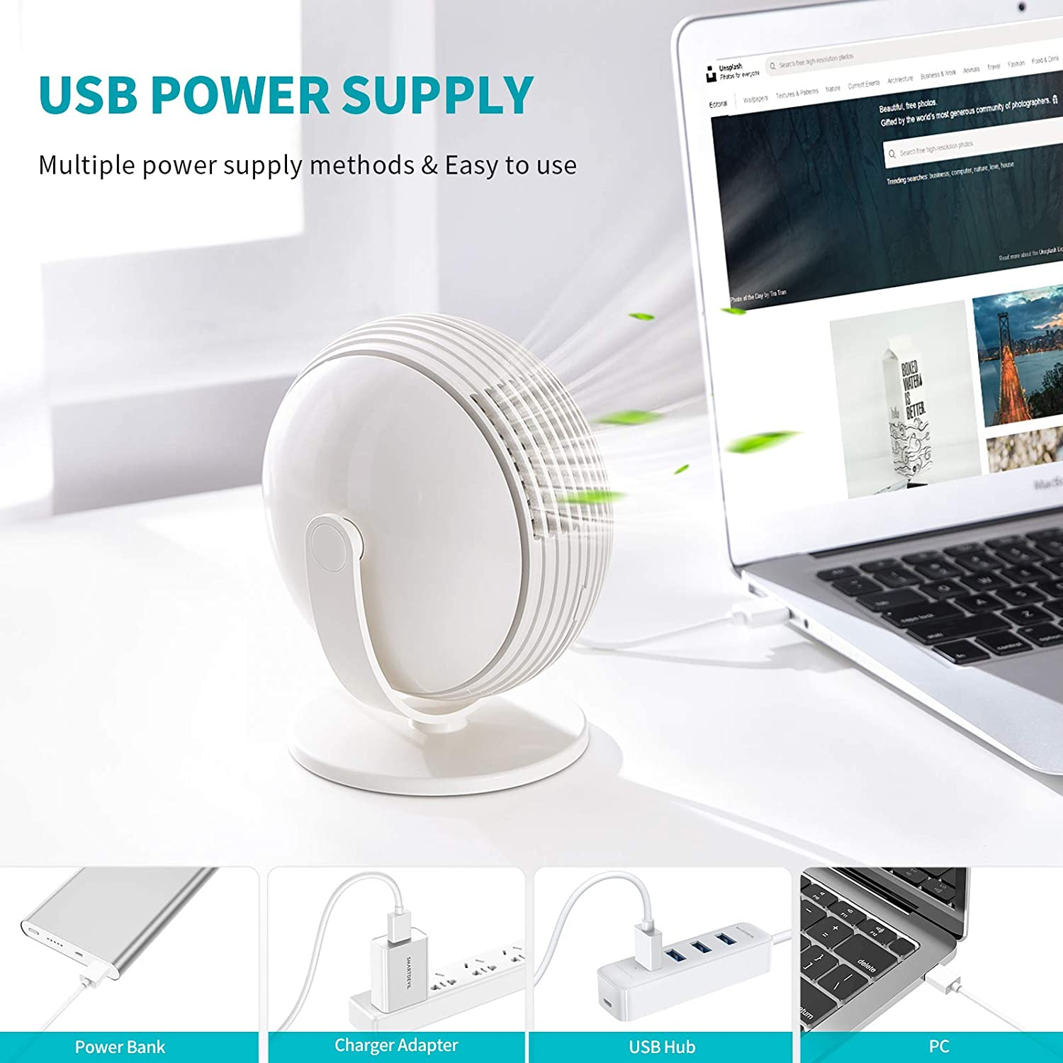 SmartDevil Small Desk Fan, 3 Speeds Portable Bladeless Table Fan, 120° Adjustment Personal Fan Powered by USB, Strong Wind, Quiet Operation, for Desktop Office Car Home Outdoor (White)