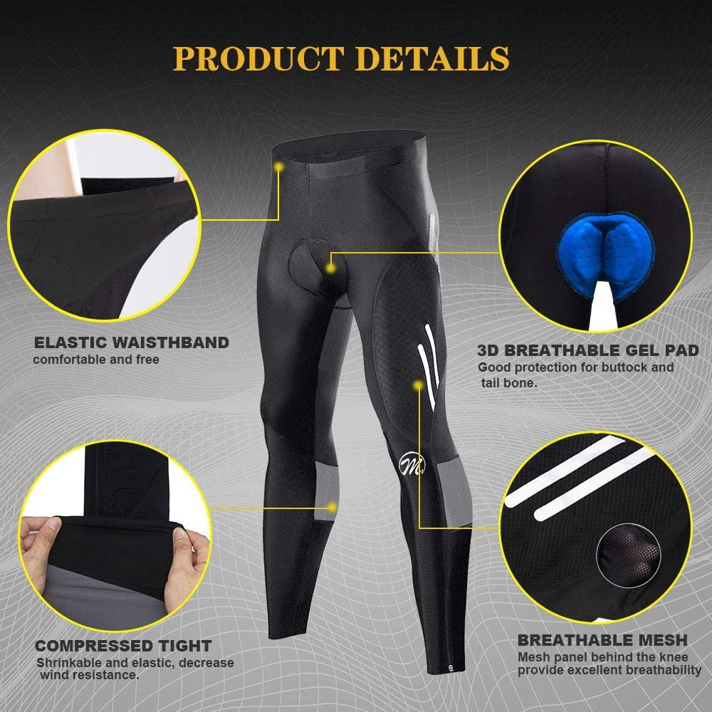 Long Bike Pants Trousers Tights Legging Breathable 3D Sponge Padded for Cyclist Riding Wear MEETWEE Mens Cycling Pants Trousers