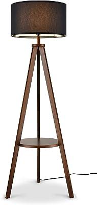 Light Society Troisa Tripod Floor Lamp, Walnut Pinewood and Linen Shade, Modern Style Floor Lamp