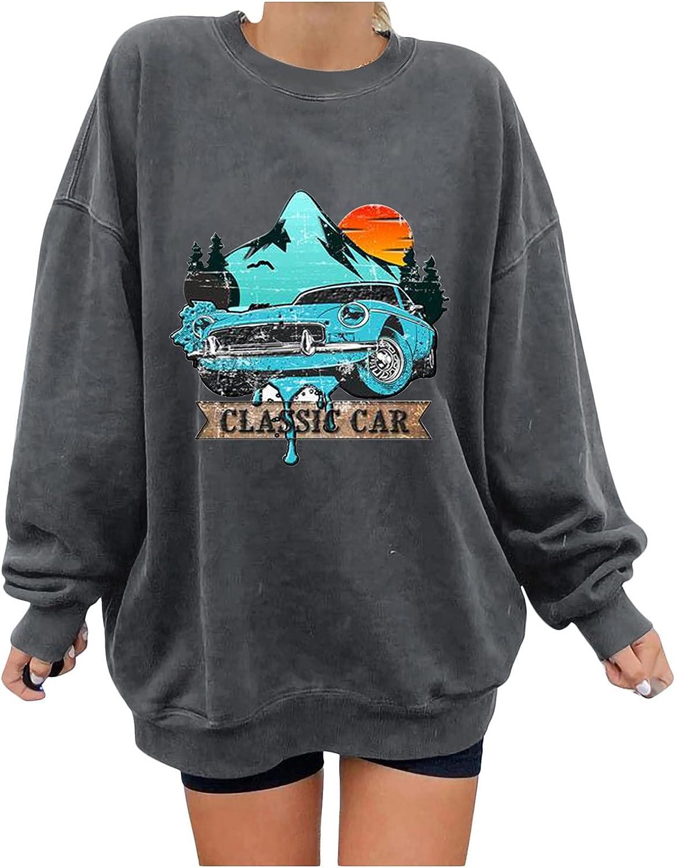 INESVER Casual Loose Fitting Long Sleeve Tee Shirt for Women Autumn Round Neck Sweatshirt Car Printed Hoodies