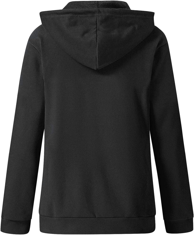 Fleece Long Sleeve Hooded Sweatshirt Solid Zip Winter Top Blouse Casual Loose Pockets Coat F/_topbu Hoodies for Women