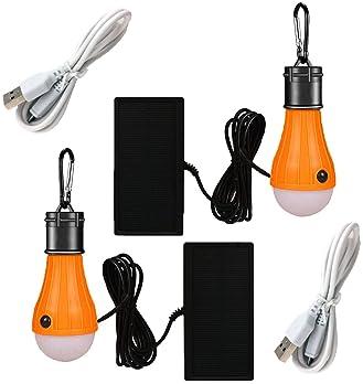 Viewpick 2 Pack Solar Powered LED Bulb Light Solar LED Lantern Tent Light Bulb Solar USB Rechargeable Lamp 3 Modes Ou...