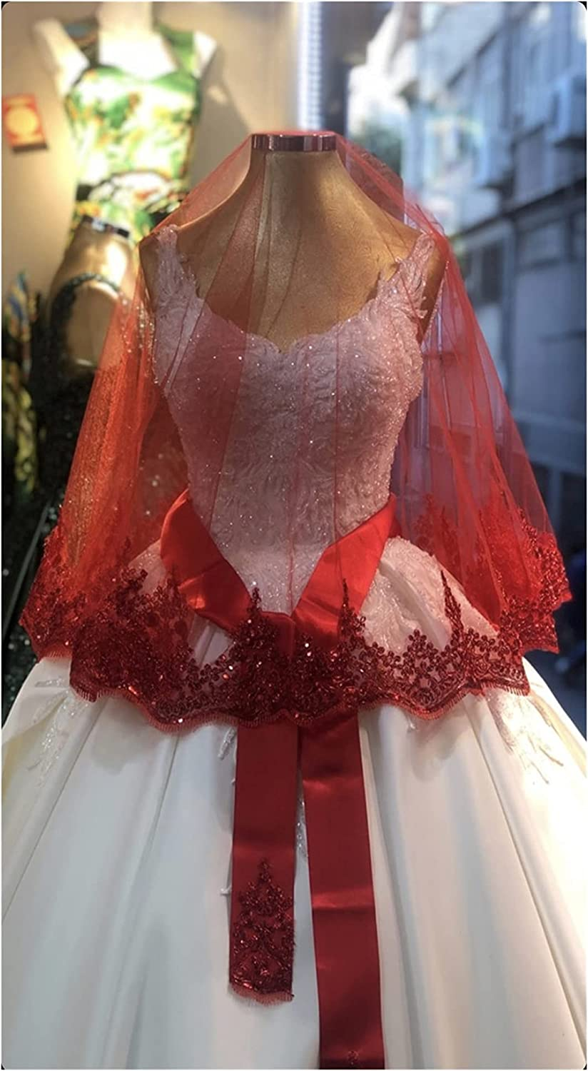 HAQTXI Short Bridal Veil Set Night Wedding Ceremony Accessory Wire Break Lace Shimmer Claret Red Purple Green Sax Blue Fuchsia (Color : Red, Item Length : 150cm)