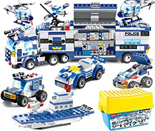 PeleusTech 762Pcs 8-in-1City Police Car Toy Police Vehicle Building Blocks Toys for Children