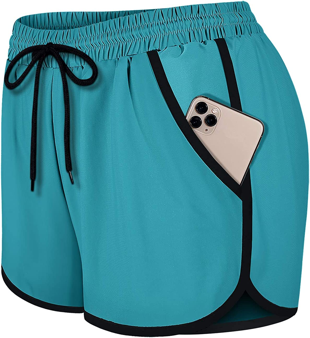 Ranking TOP18 Fulbelle Womens Double Layer Drawstring Waist Max 60% OFF S Elastic Athletic