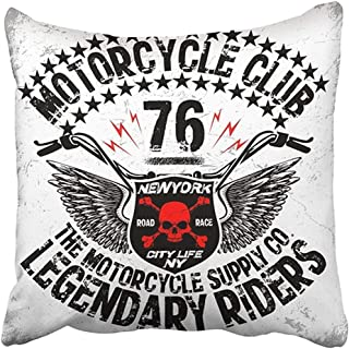 18X18 Inch Decorative Throw Pillow Cover Polyester Motorbike Motorcycle Graphic Design Vintage Race Biker Motor Bike Racer Retro Cushion Two Sides Pillow Case Square Print for Home