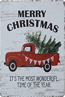 SKYC Merry Christmas Trees Funny Truck Retro Vintage Bar Metal Tin Sign Poster Style Wall Art Pub Bar Decor Coffee Cup Signs Size 8X12Inch