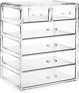 Casafield Acrylic Cosmetic Makeup Organizer & Jewelry Storage Display Case - 4 Large, 2 Small Drawer Set - Clear