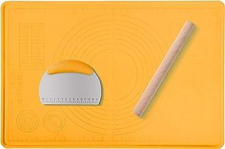 Mepple Non Stick Silicone Pastry Mat Set, 3 Piece Rolling Pin Dough Cutter Baking Mat Set, Baking Tools for Fondan, Pizza ...