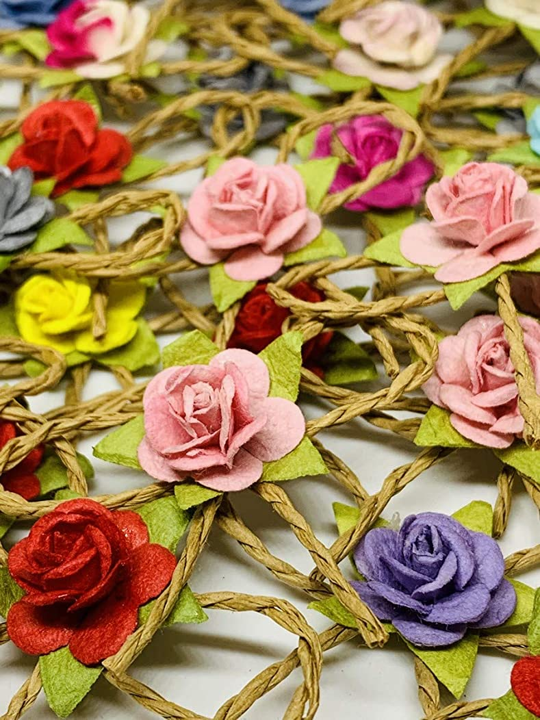 50 PC Anthurium Mini Rose Leaf Mulberry Paper Mixed Color Natural Skeleton Rubber Tiny Leaves 10 mm Supplies Card Scrapbooking Artificial Embellishment Wedding Doll House DIY F029