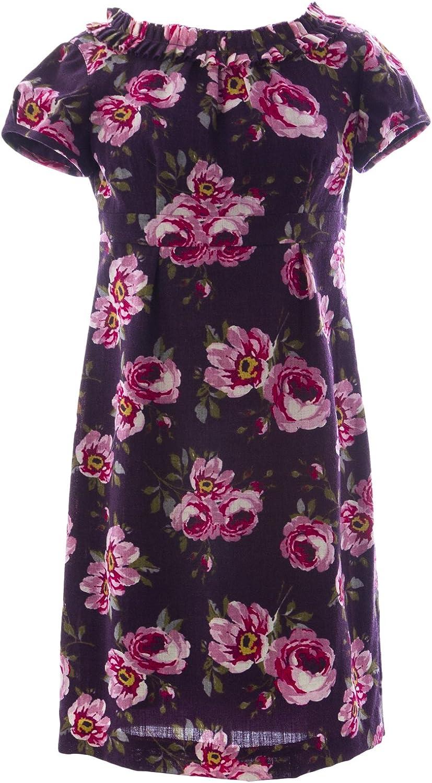 BODEN Women's Floral Print Wool Shift Dress US Sz 6P Eggplant
