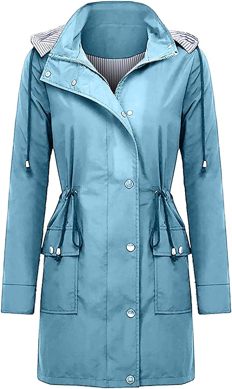 Evangelia.YM Womens Raincoat Windbreaker Color Solid High quality Superior new Jacket Coat
