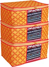 Oysteo Presents Non Woven Saree Cover Storage Bags for Clothes with primum Quality Combo Offer Saree Organizer for Wardrobe/Organizers for Clothes/Organizers for Wardrobe Pack of 3