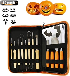 Halloween Pumpkin Carving Sets, Botee 12Pcs Stainless Steel Pumpkin Carving Kits - Pumpkin Halloween Manual Carving Tools with Zipper Bag Engraving Paper Crafts