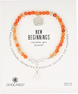 Dogeared - Gem Bracelet, New Begginings, Lotus Charm, Carnelian Bead