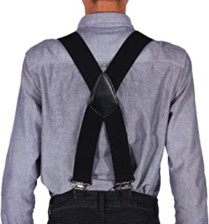 Suspenders for Men 2 Inch Wide,TERSELY 4 Buckles Stripe X Back Durable Elastic Adjustable Suspenders Strong Metal Clips He...