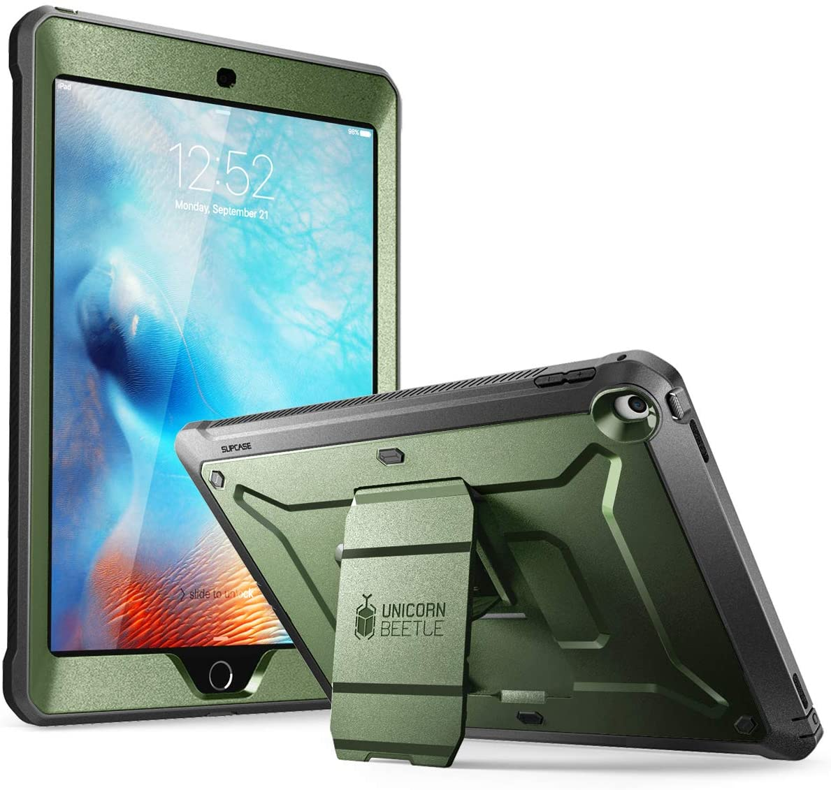 SUPCASE Unicorn Beetle Pro Series Case Designed for iPad 9.7 2018/2017, with Built-in Screen Protector & Dual Layer Full Body Rugged Protective Case for iPad 9.7 5th / 6th Generation(Green)