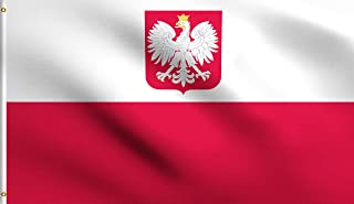 DMSE Poland State Ensign Polish Eagle Flag 3X5 Ft Foot 100% Polyester 100D Flag UV Resistant (3'X5' Ft Foot)