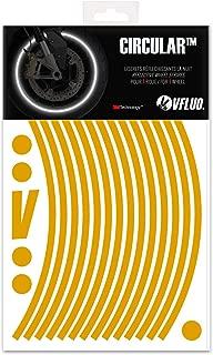 VFLUO CIRCULAR, motorbike retro retro reflective wheel stripes kit (1 wheel), 3M Technology, 7 mm width, Gold