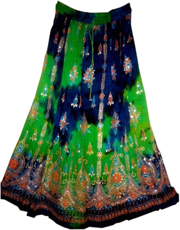 FOI Rayon Wrinkle Skirt Indian Hippy Rock Gypsy Jupe Retro Boho Falda Women
