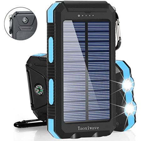 etc Solar Charger,Soxono Qi Wireless Portable Power Bank 20000mah with 3 Solar Panels Flashlight Dual 5V//2.1A USB Ports Waterproof External Battery Pack Compatible with Smartphones Tablets