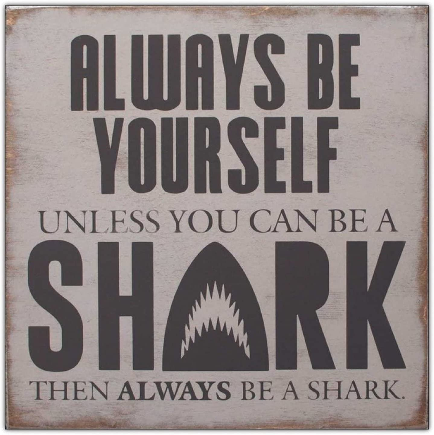 wonbye Wooden Signs with Sayings Ranking TOP3 Sign Shark Wood Decor Free shipping anywhere in the nation