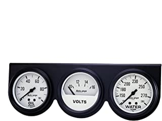 AUTO METER 2328 Autogage Mechanical White Oil/Volt/Water Gauge with Black Console