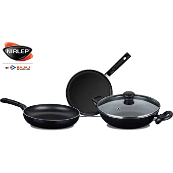 Nirlep by Bajaj Electricals Sakhi Induction-Base Non-Stick 3-Piece Cookware Set with Lid, Black