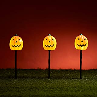 Lights4fun, Inc. Set of 3 Halloween Pumpkin Battery Operated Outdoor LED Garden Pathway Markers Landscape Lights