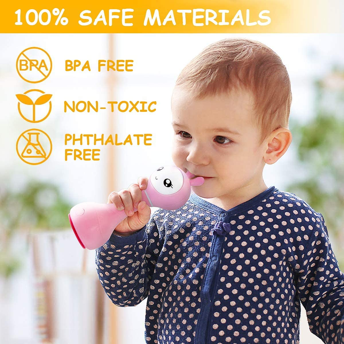 Alilo Bunny Baby Rattle Shaker and Teether Toys for 0-6-12 Months,Electronic Rattle Infants Toy,9 Kinds of Color Learning and Educational Toys with Music & Light, Gift for Newborns Girls Boys Toddlers