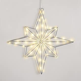 LampLust Pre-lit Lighted LED Star, Indoor/Outdoor Use, Timer Option, Warm White Lights, 16 inch - for Christmas Tree, Window and Wall Decoration