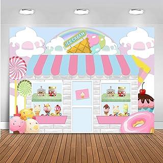 Mocsicka Ice Cream Parlor Shop Backdrop for Girls Cute Pink Cake Princess Birthday Party Banner Vinyl Children Dessert Tab...
